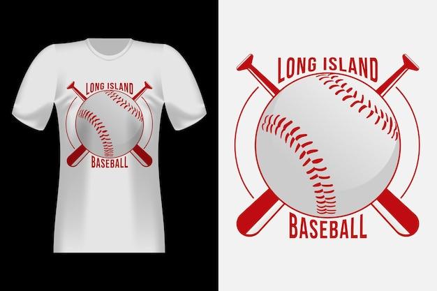 Винтажный ретро дизайн футболки в стиле типографии в стиле бейсбола на лонг-айленде