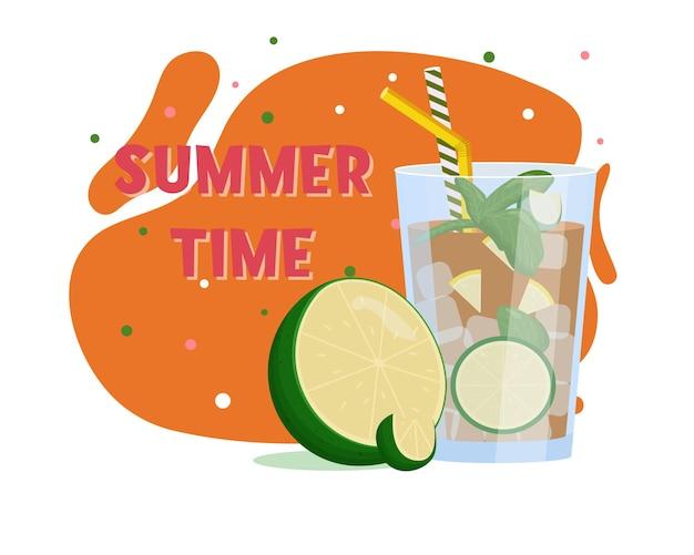 ロングアイランドカクテル。夏の飲み物。フラットベクトルイラスト。