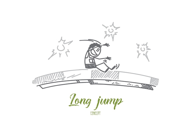 Long jump concept illustration