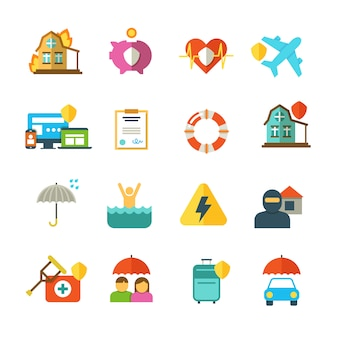 Long life insurance vector flat icons