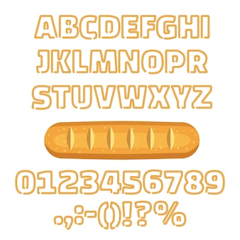 Long loaf alphabet numbers vector illustration
