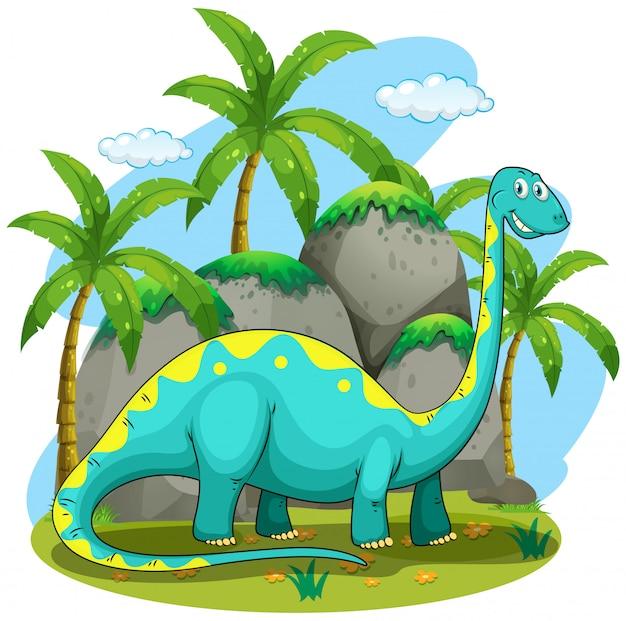 Длинный шейный динозавр стоит в поле