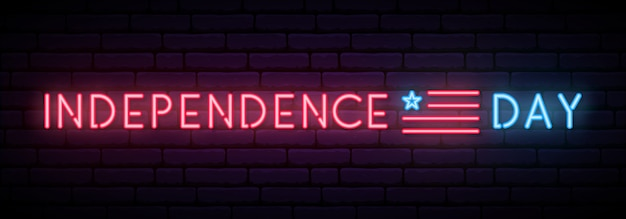 Long neon sign for independence day usa celebration.