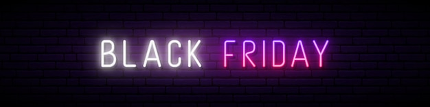 Long neon signboard with glowing black friday inscription.