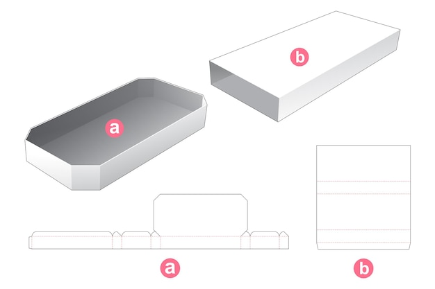 Long octagonal tray with cover die cut template
