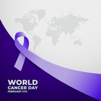 Long purple ribbfor world cancer day