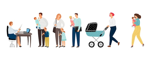 Long queue. long line parents with children to administrator. flat people vector characters