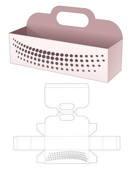 ハンドル付きの長い長方形のボウルとステンシル ハーフトーン ドット ダイ カット テンプレート