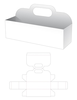 Long rectangular bowl with handle die cut template