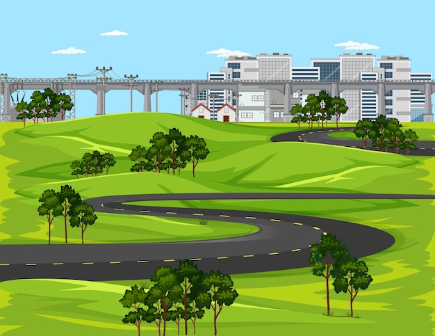 Long road in city with nature landscape scene