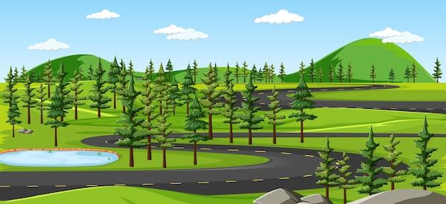 自然景観シーンの長い道のり