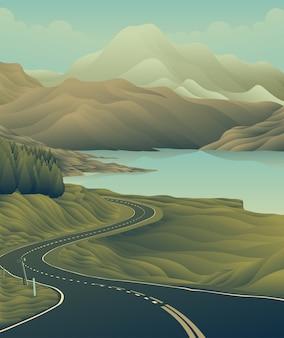 Long road lake mountain