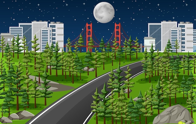 Long road in nature landscape at night scene
