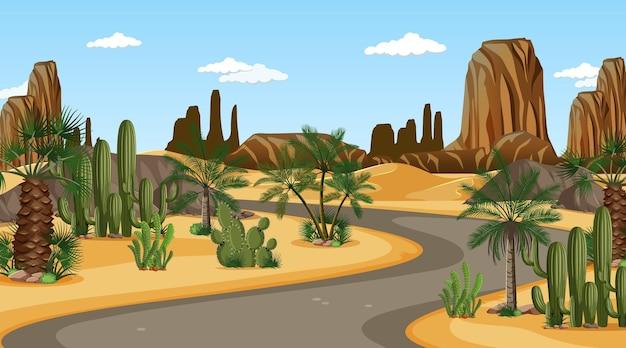 낮 시간 장면에서 사막 숲 풍경을 통해 긴 도로