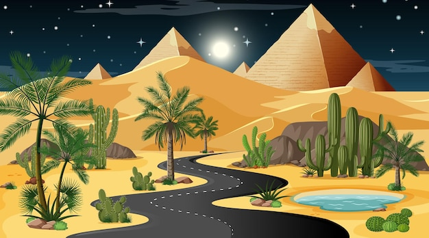 Long road through desert forest landscape at night scene with pyramid of giza