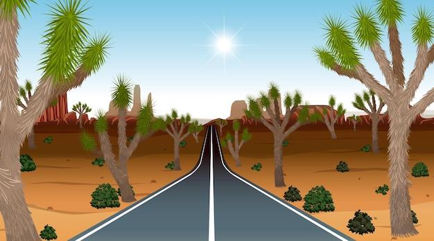 Long road through the desert landscape scene at day time