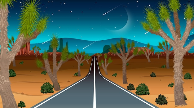 Long road through the desert landscape scene at night