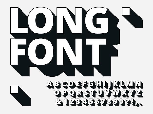 Длинный теневой шрифт. ретро смелость 3d алфавит, старый жирный шрифт и старинные прохладно типография битник надписи векторные иллюстрации набор