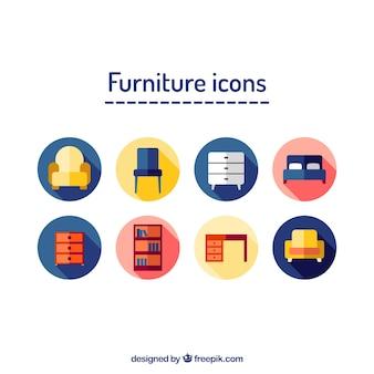 Long shadow furniture in circular labels