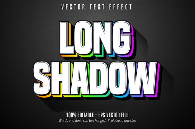 긴 그림자 텍스트, 여러 색상 스타일 편집 가능한 텍스트 효과