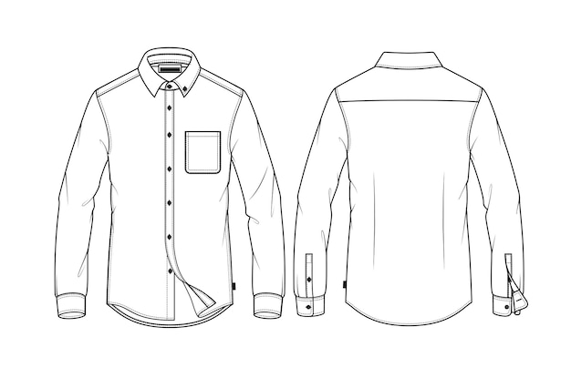 Рубашки с длинным рукавом моды плоский эскиз шаблона вектор сзади и спереди. премиум векторы