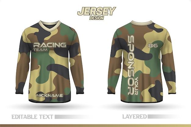 긴 소매 스포츠 레이싱 슈트. 전면 및 후면 티셔츠 디자인 템플릿
