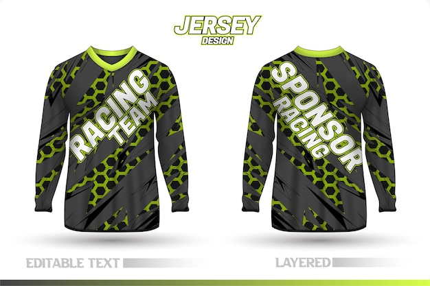 Long sleeve sports racing suit. front and back t-shirt design templates