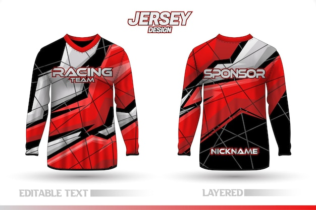 Long sleeve sports racing suit front back t-shirt design templates