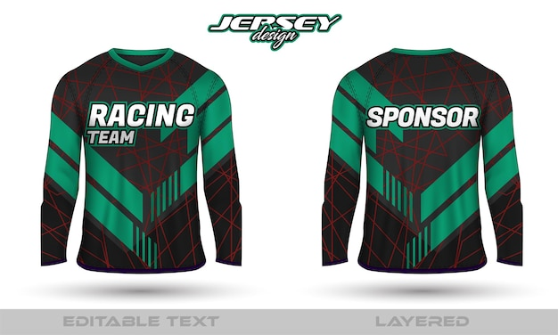 Long sleeve sports racing suit, front back tshirt design. sports design for football racing cycling gaming jersey