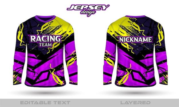 긴 소매 스포츠 레이싱 슈트, 앞면 티셔츠 디자인. 축구 경주 사이클링 게임 저지를위한 스포츠 디자인