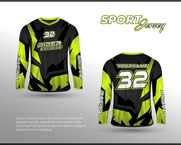 長袖スポーツレーシングスーツフロントバックtシャツデザインチームユニフォームのテンプレート