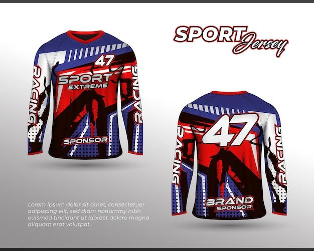 長袖スポーツレーシングスーツフロントバックtシャツデザイン