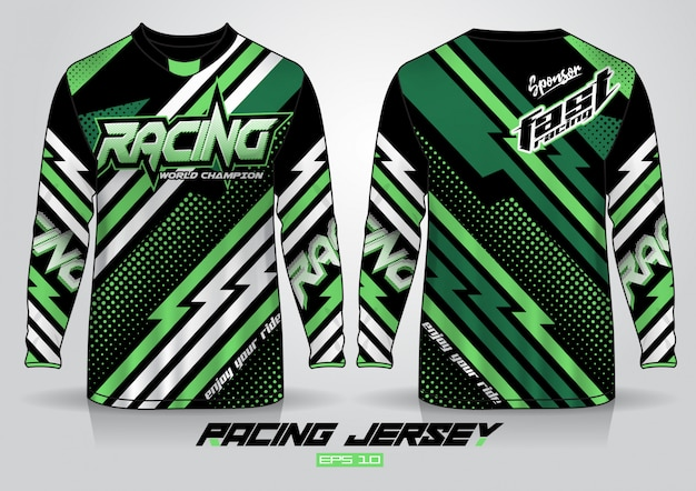 Long sleeve t-shirt design. motor racing uniform front and back view.