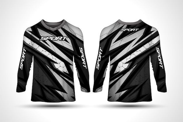 Long sleeve t-shirt design template, racing sport motorcycle jersey