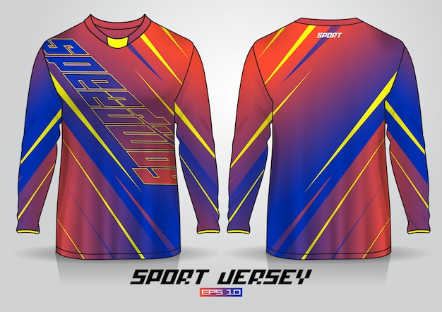 Long sleeve t-shirt design template, uniform front and back view. vector