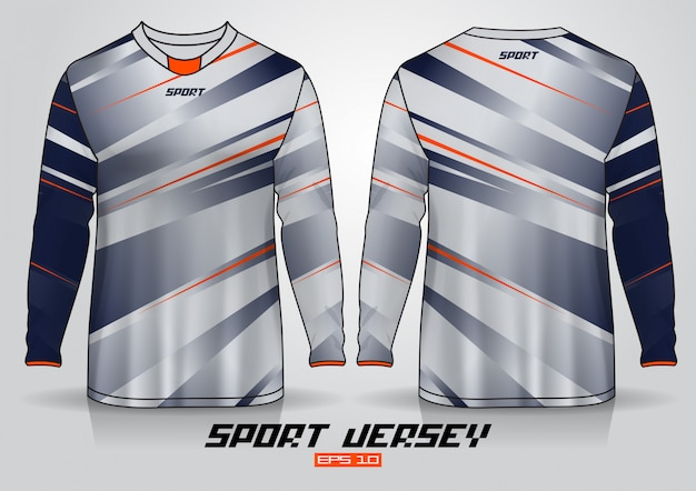 Long sleeve t-shirt design template, uniform front and back view.