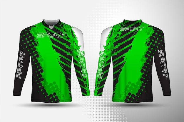 抽象的な背景デザインの長袖、tシャツスポーツレーシングジャージ