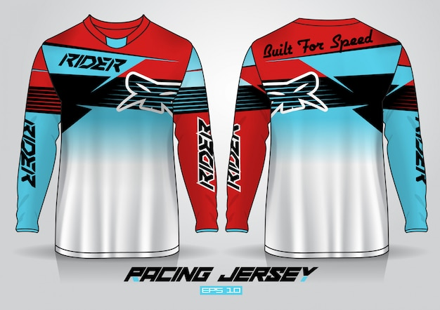 Long sleeve t-shirt template, uniform front and back view