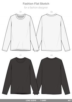 Long sleeve t-shirtsファッションフラットテクニカルドローイングテンプレート