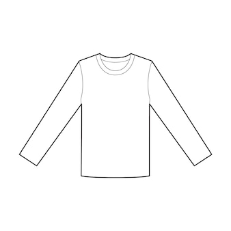 Long sleeve tee fashion flat technical drawing template