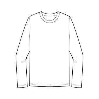 Long sleeve teeファッションフラットテクニカルドローイングテンプレート