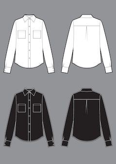 Long sleeve white and black shirts, fashion flat sketch template. vector classic sketch