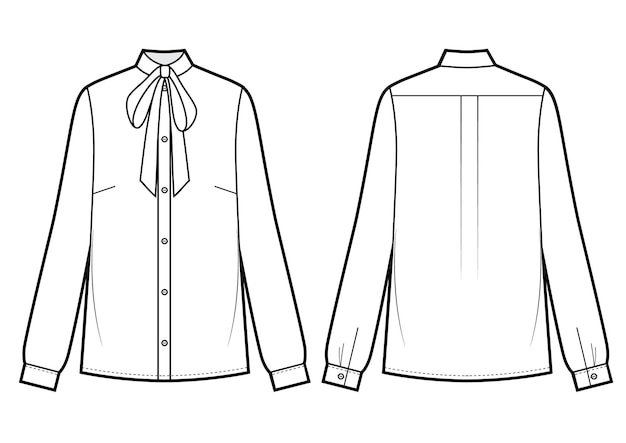 蝶ネクタイ付きの長袖ブラウス。ベクトルイラスト。