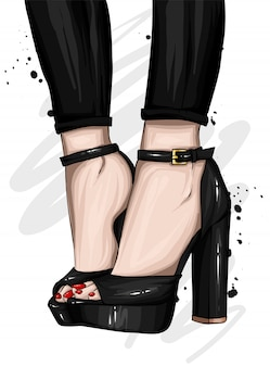 タイトなズボンとハイヒールの細長い脚。