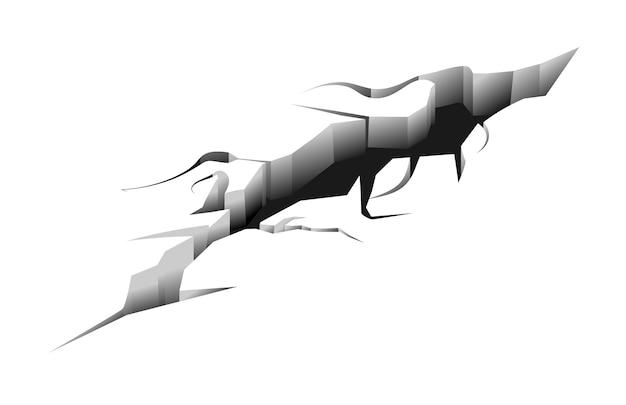 Длинная трещина на поверхности земли после землетрясения
