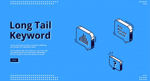 Long tail keyword banner with isometric icons