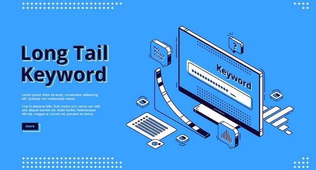 Long tail keyword isometric landing page, banner