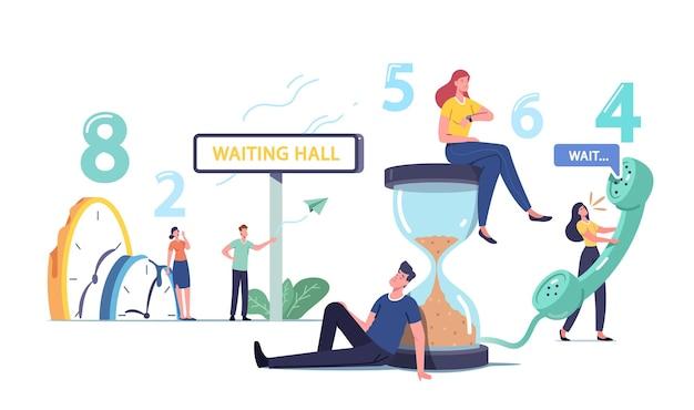 Концепция долгого ожидания. усталые и скучающие персонажи мужского и женского пола слишком долго ждут в офисном зале, аэропорту или вестибюле больницы. мужчины и женщины звонят по телефону, песочные часы. мультфильм люди векторные иллюстрации