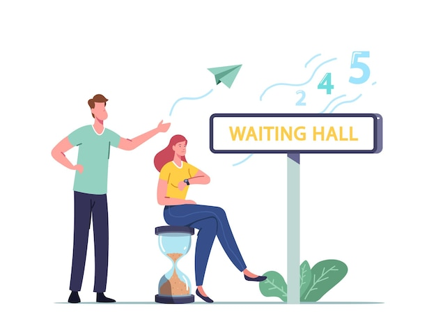 Long wait, male female characters in waiting hall
