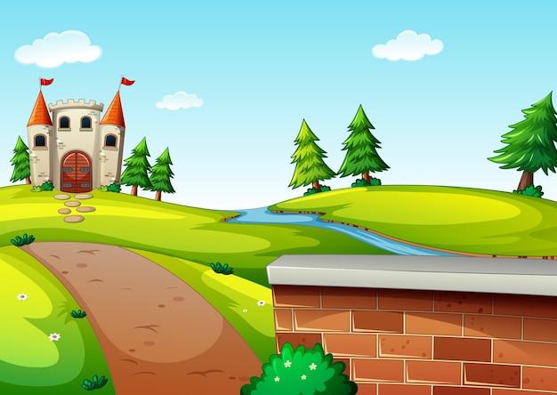 Lunga strada per il castello di scena in stile cartone animato